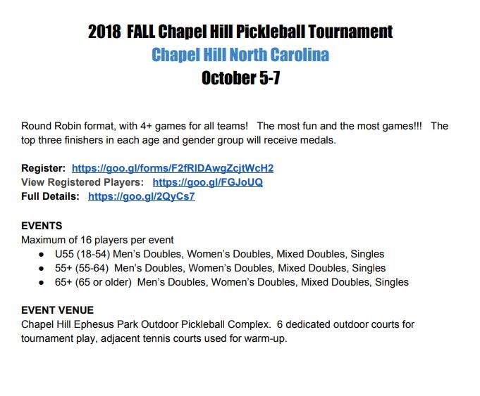 Chapel Hill Fall 2018